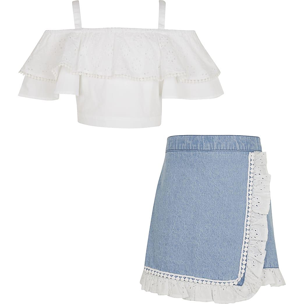 Age 13+ girls white bardot top and skort set