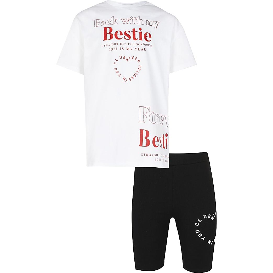 Age 13+ girls white 'bestie' t-shirt set