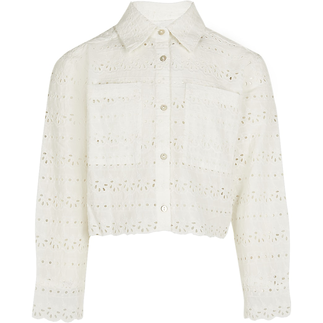 Age 13+ girls white broderie cropped shacket