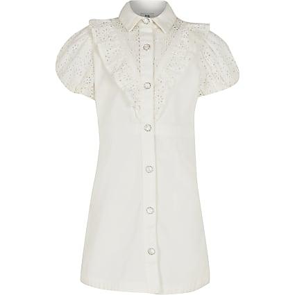 Age 13+ girls white broderie shirt dress