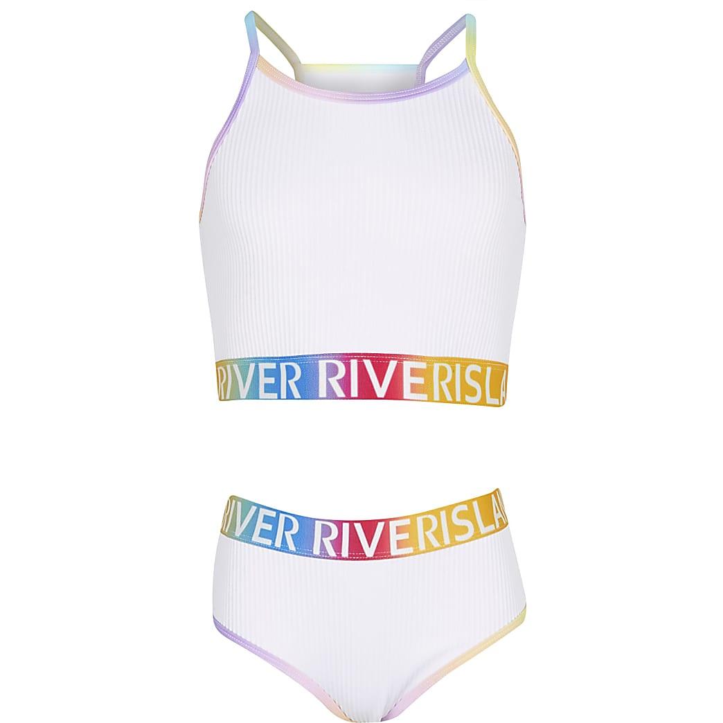 Age 13+ girls white colour block bikini set