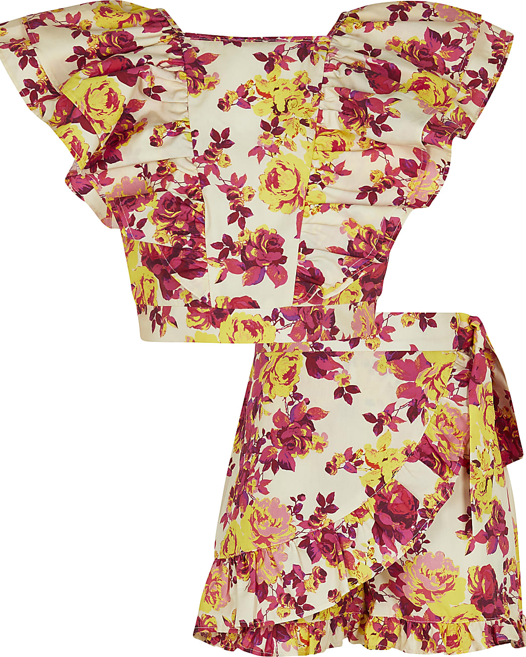 Age 13+ girls white floral top and shorts set