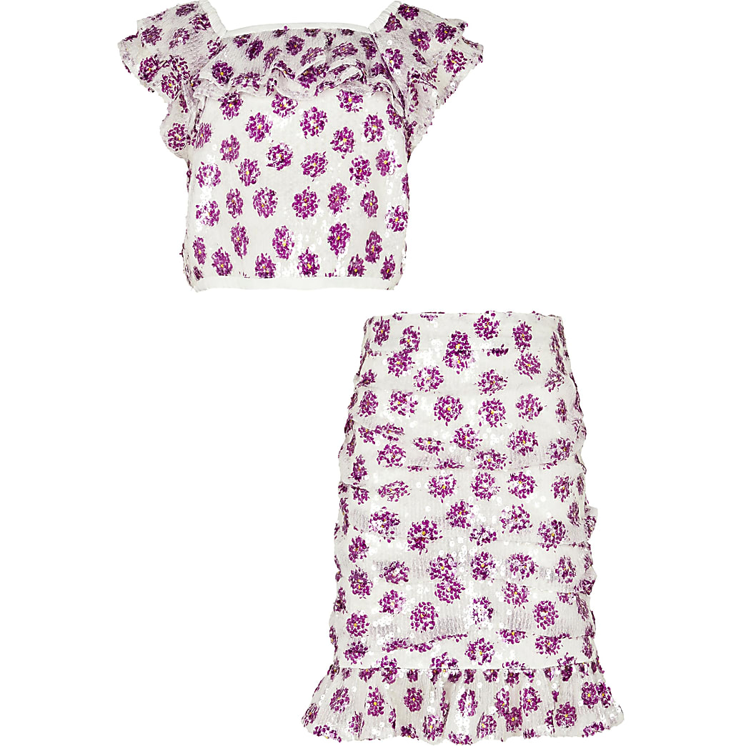 Age 13+ girls white floral top and skirt set