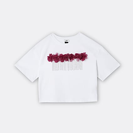 Age 13+ girls white flower chain trim t-shirt