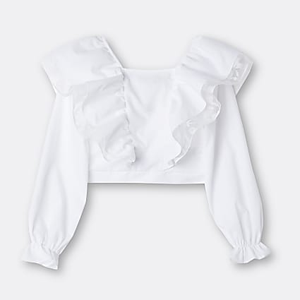 Age 13+ girls white frill neck blouse top