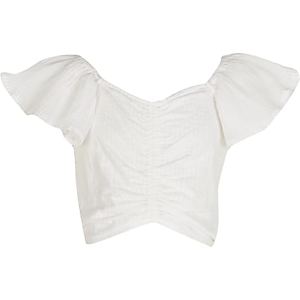 Age 13+ girls white frill sleeve top