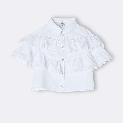 Age 13+ girls white frill trim collared shirt