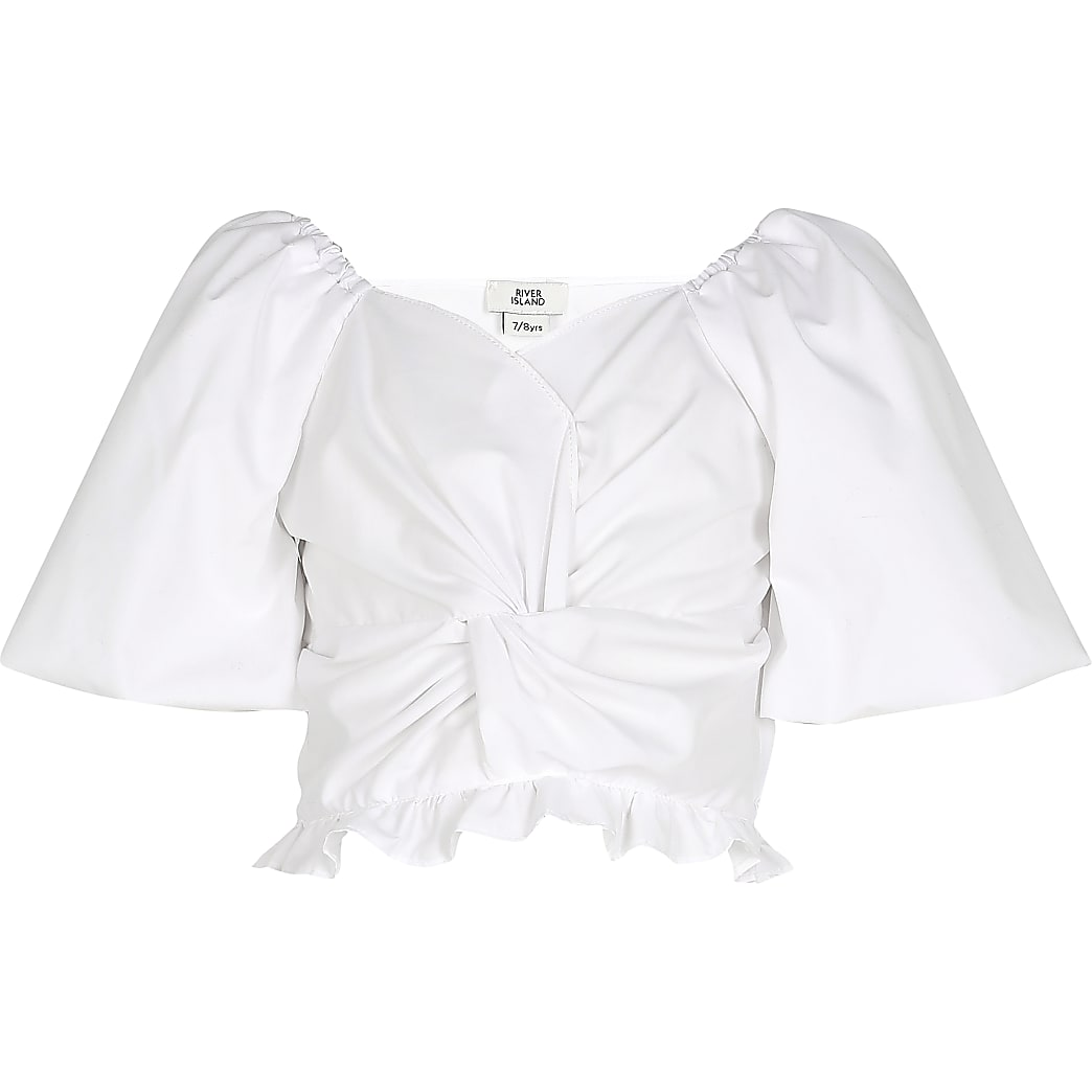 Age 13+ girls white knot front frill top