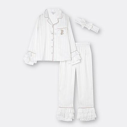 Age 13+ girls white RI  pyjama 3 piece set