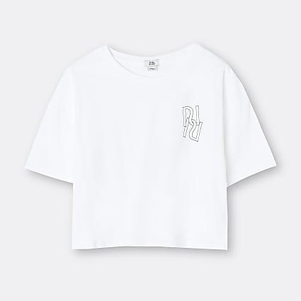 Age 13+ girls white RI branded t-shirt