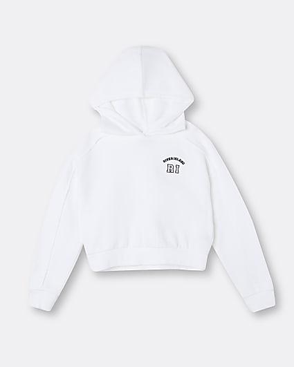 Age 13+ girls white RI embroidered hoodie