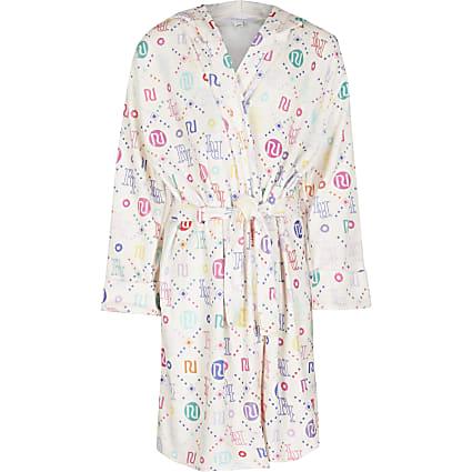 Age 13+ girls white RI monogram velour robe