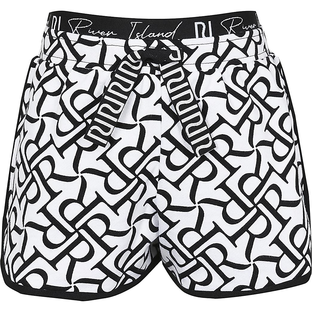 Age 13+ girls white RI print runner shorts