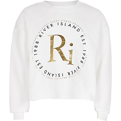 Age 13+ Girls white RI print sweatshirt