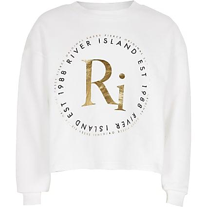 Age 13+ Girls white RI print sweatshirt