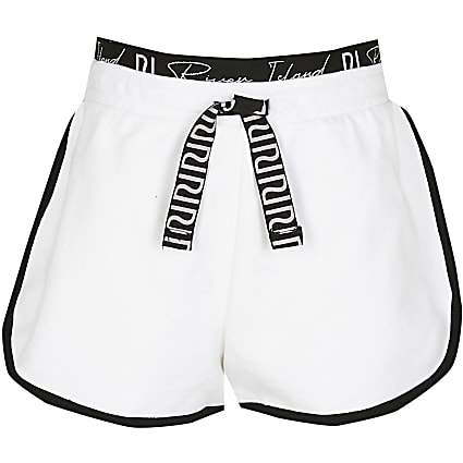Age 13+ girls white RI runner shorts