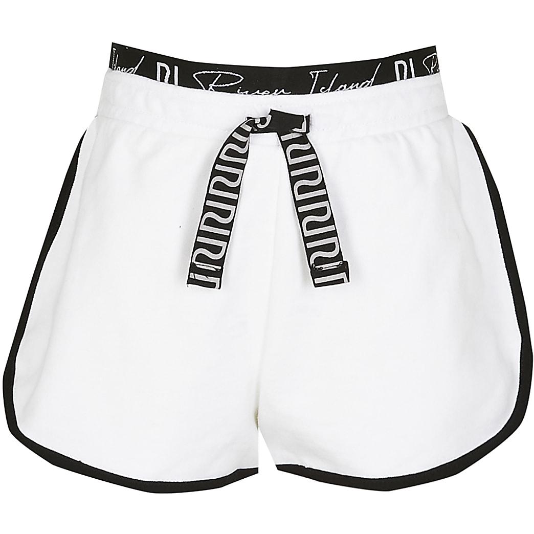 Age 13+ girls white RI runner shorts