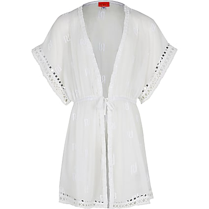 Age 13+ girls white RI trimmed kaftan