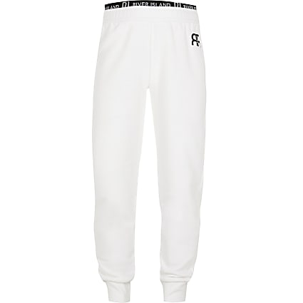 Age 13+ girls white RIR print joggers