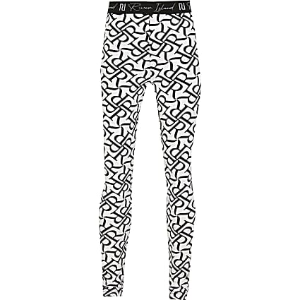 Age 13+ girls white RR printed leggings