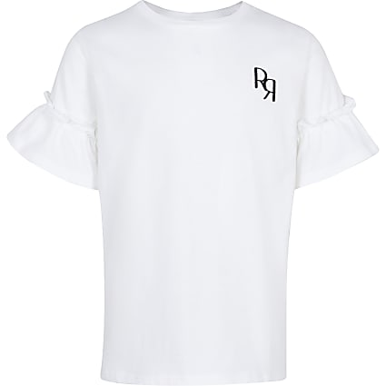 Age 13+ girls white RR ruffle sleeve t-shirt