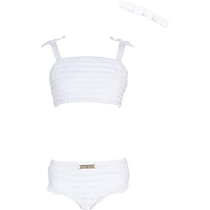 Age 13+ girls white ruffle bikini set