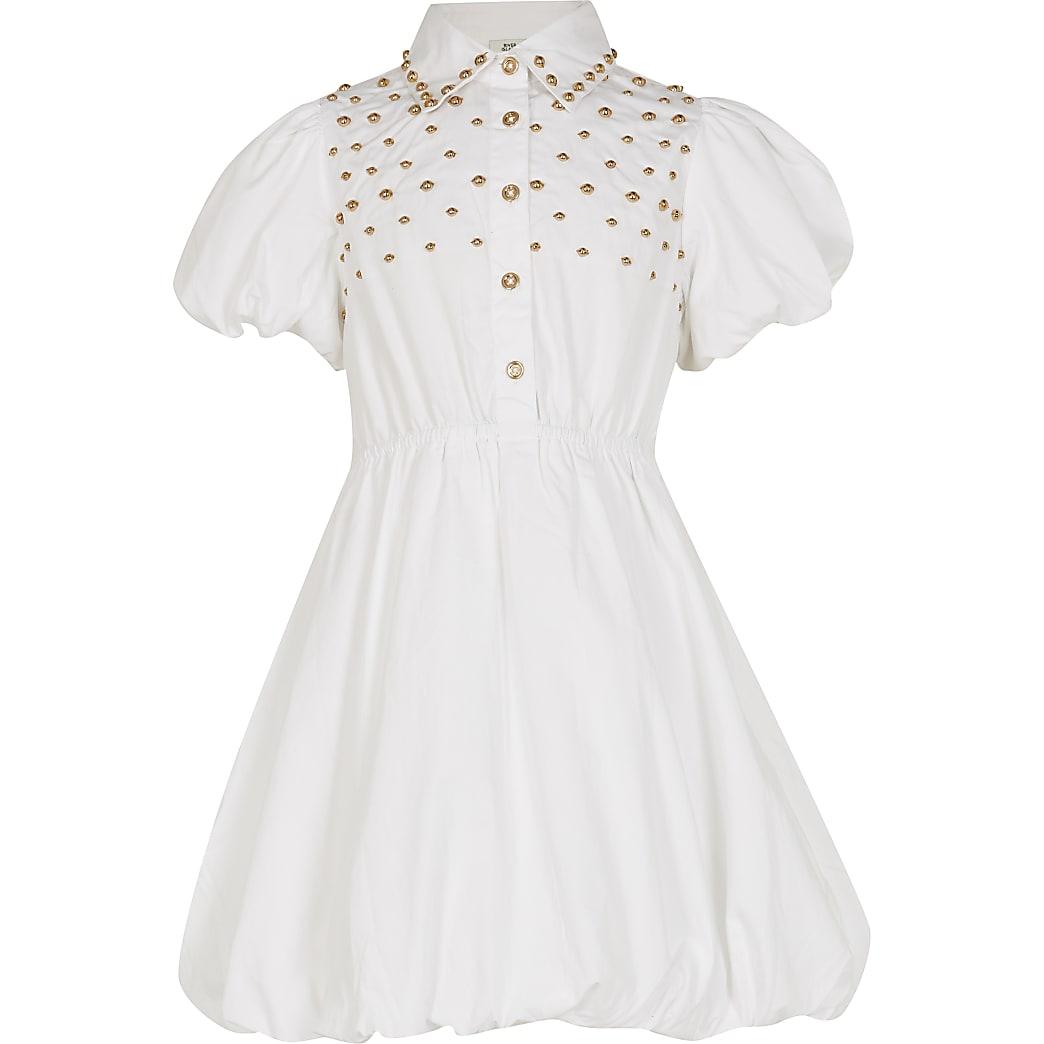 Age 13+ girls white studded shirt dress