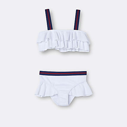 Age 13+ girls white textured frill bikini set