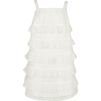 Age 13+ girls white tiered shift dress