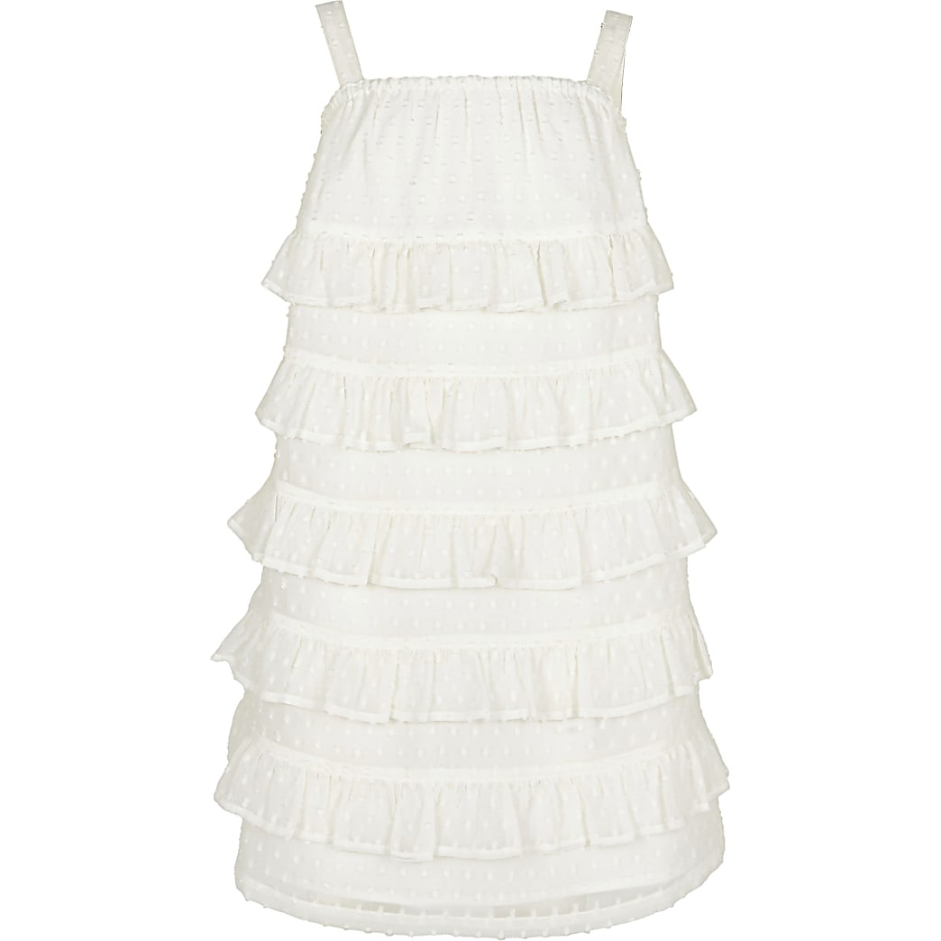 Age 13+ girls white tiered shift dress
