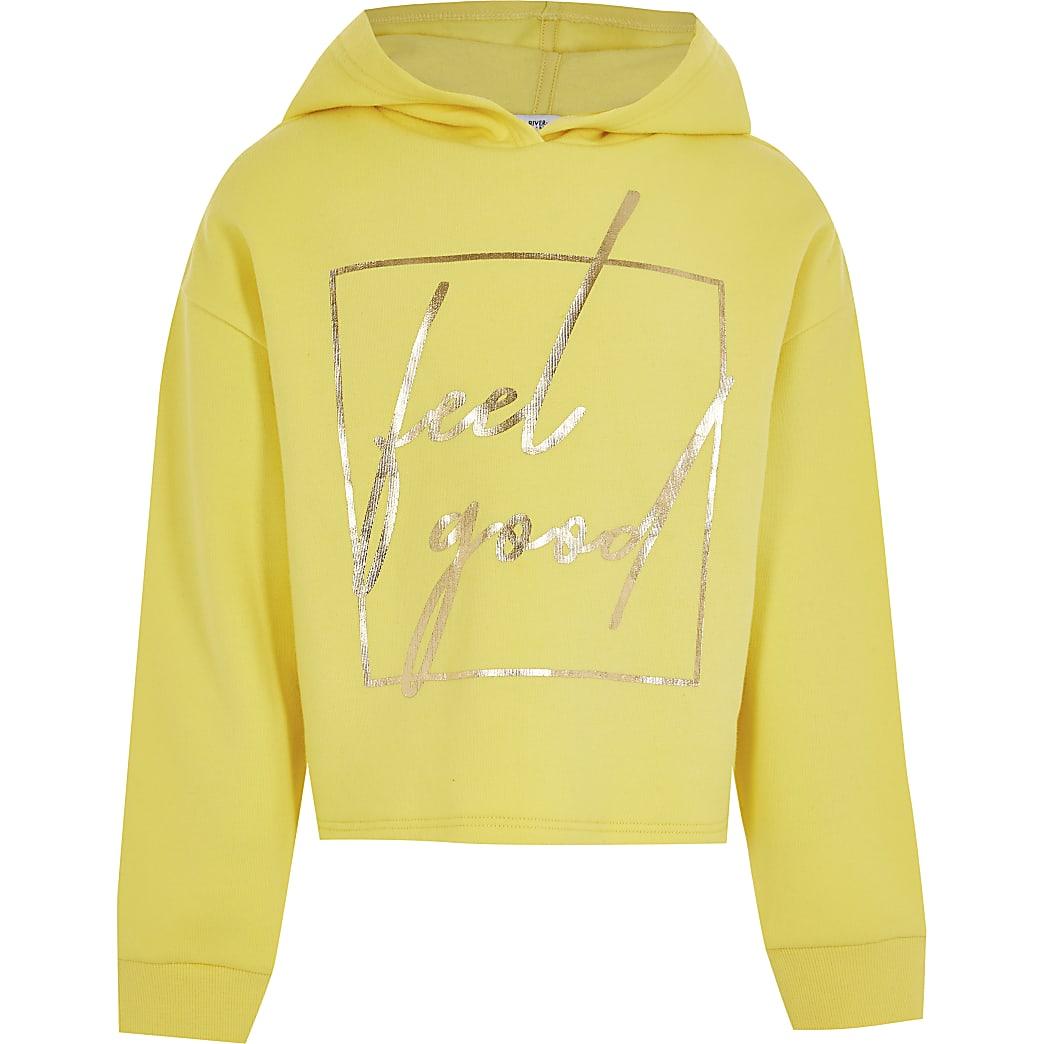 Age 13+ girls yellow 'Feel Good'  hoodie