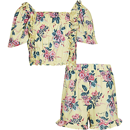 Age 13+ girls yellow floral co-ord outfit