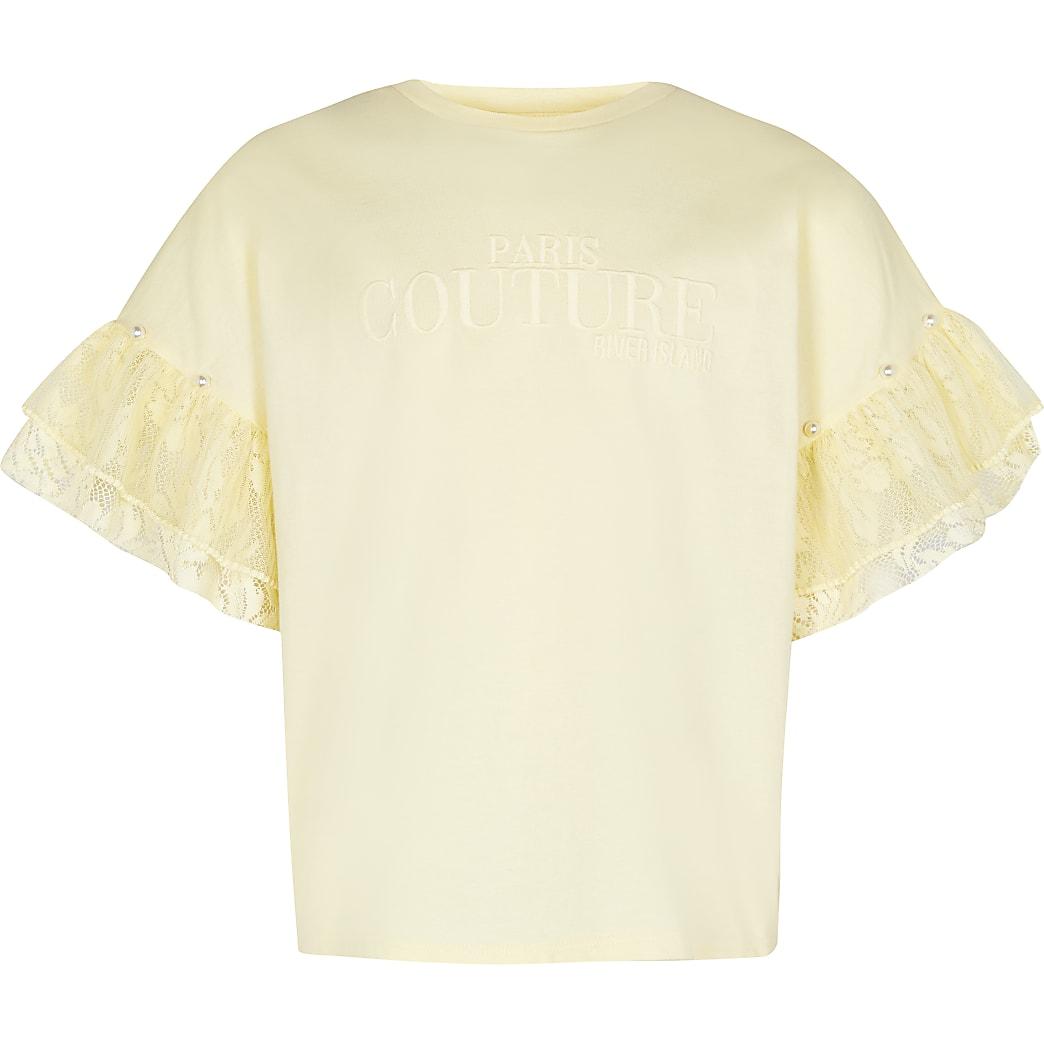 Age 13+ girls yellow frill sleeve t-shirt