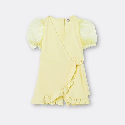 Age 13+ girls yellow organza sleeve playsuit