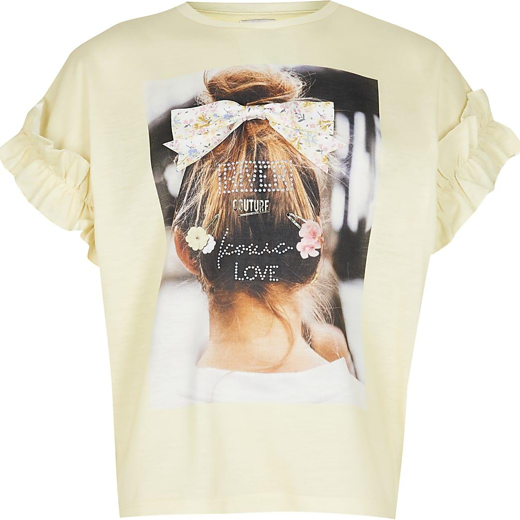 Age 13+ girls yellow photographic t-shirt