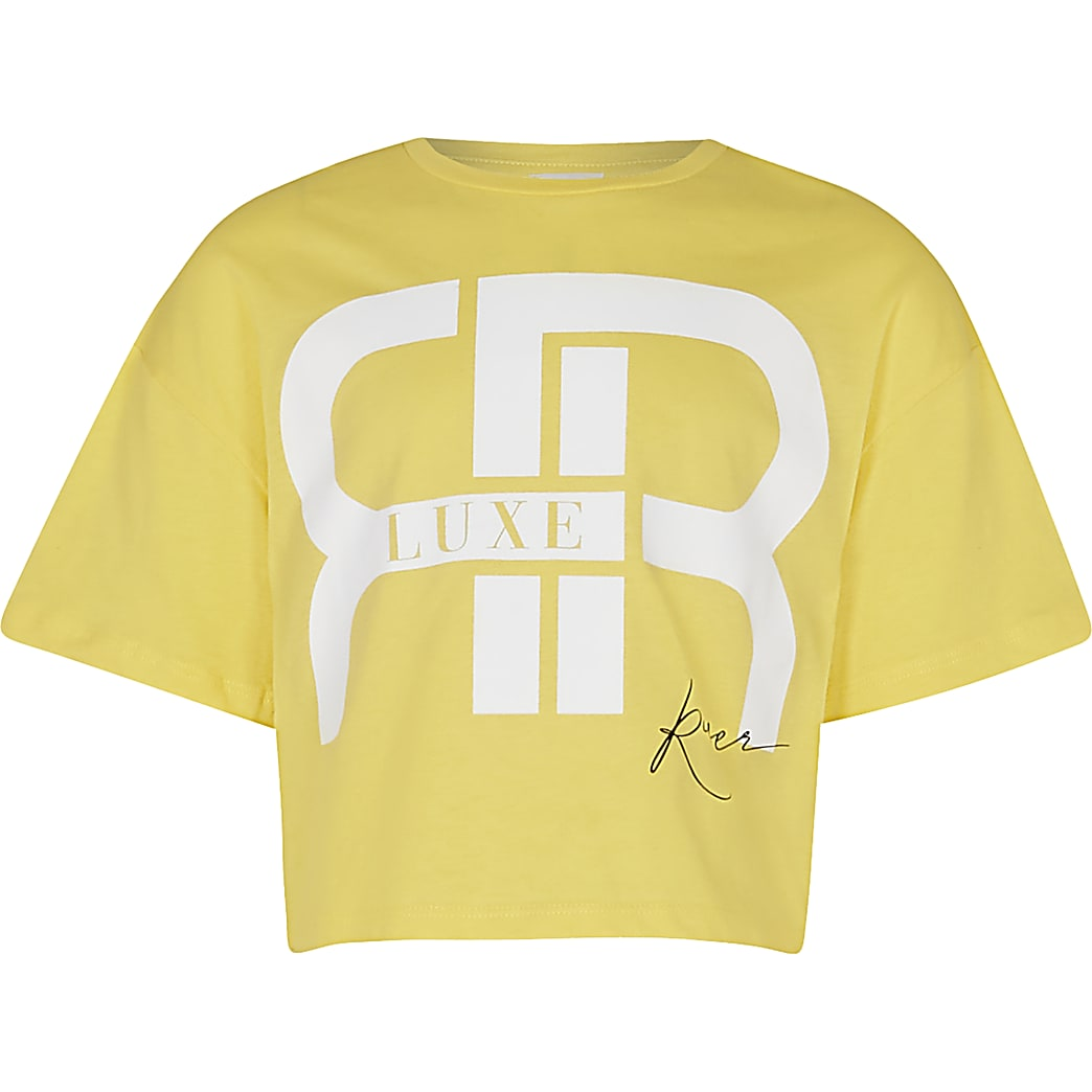Age 13+ girls yellow 'RR' slogan crop t-shirt