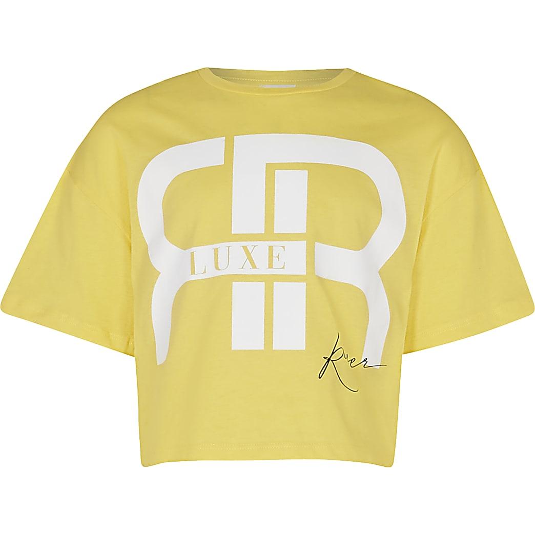 Age 13+ girls yellow 'RR' slogan crop t-shirt
