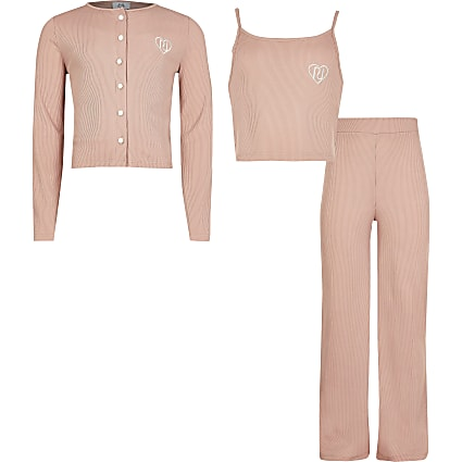 Age 13+ pink ribbed cardigan wide leg trouser