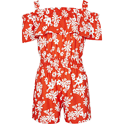 Age 13+ red floral bardot playsuit