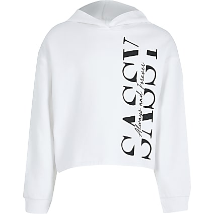 Age 13+ white 'Sassy' print hoodie