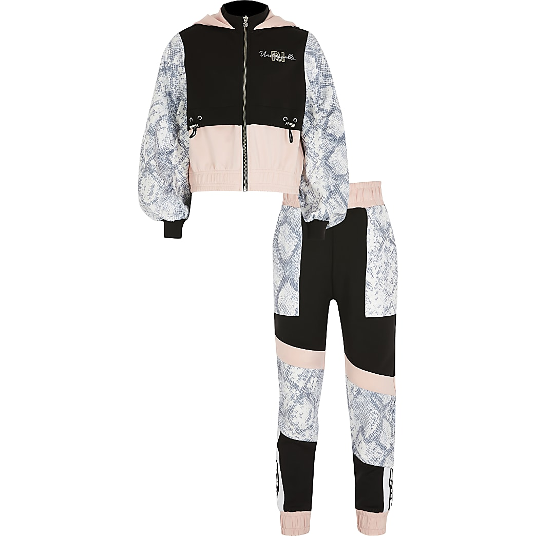 Age13+ black blocked Active tracksuit