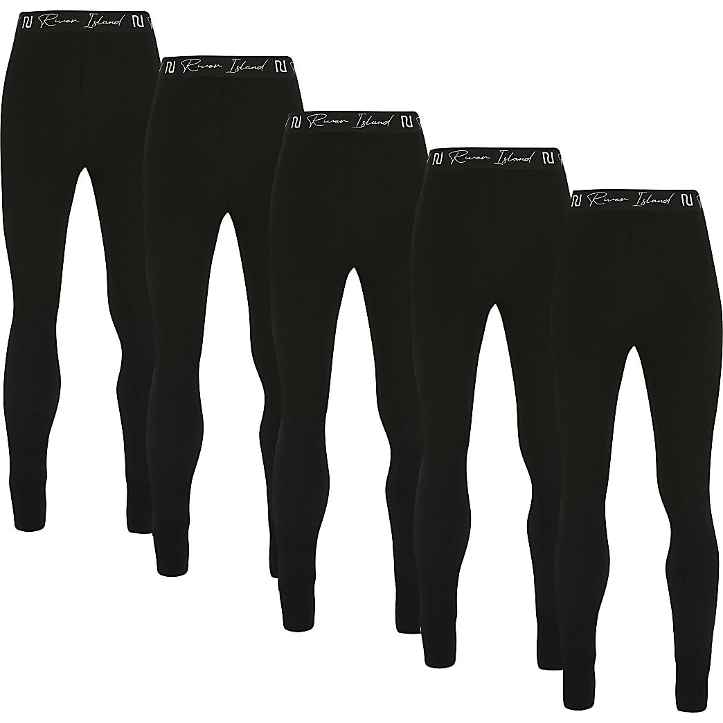 Age13+ girls black RI leggings 5 pack