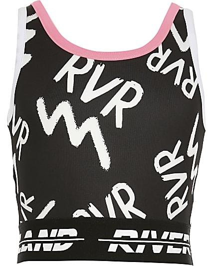 Age13+ girls black RVR print Active crop top