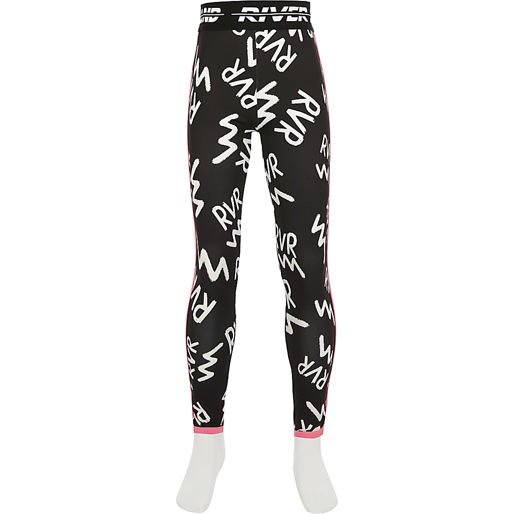 Age13+ girls black RVR print Active leggings