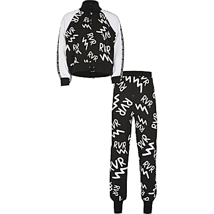 Age13+ girls black RVR print Active tracksuit