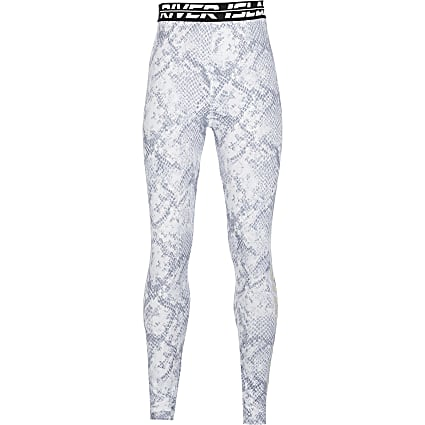 Age13+ girls grey snake print Active leggings