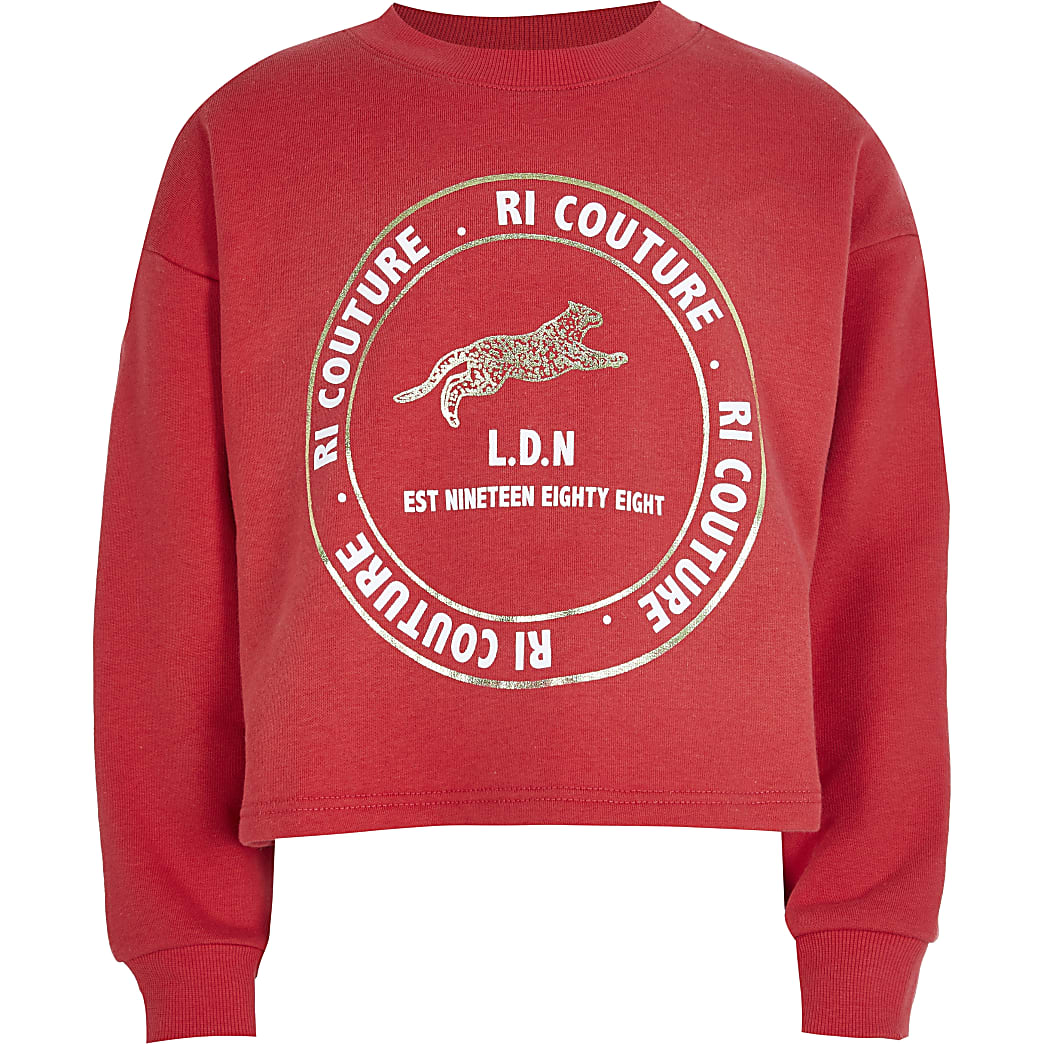 Age13+ girls red RI 'Couture' sweatshirt