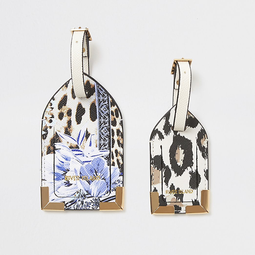 Animal and floral printed luggage tag set
