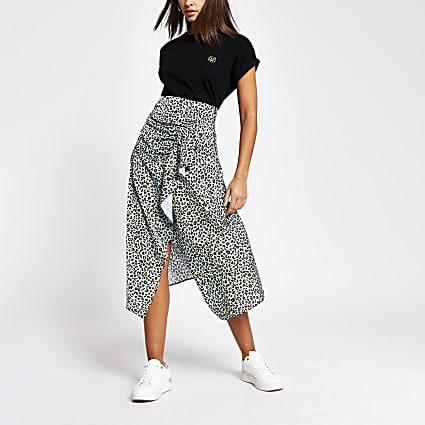 Aqua leopard print wrap frill midi skirt