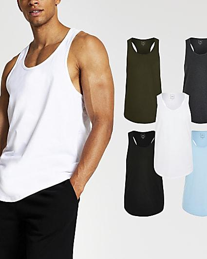Aqua muscle fit racer vest 5 Pack